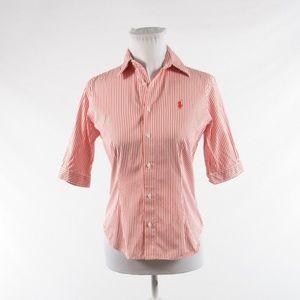 Ralph Lauren red 1/2 sleeve button down blouse 4
